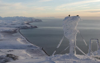 Iced over equipment at the Tin City radar site overlooking the Bering Strait and Seward Peninsula.