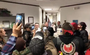 Protesters filmed themselves in the Houston office of SAExploration.