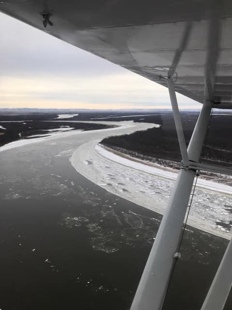 An aerial survey by USFWS shows the open water river conditions on the Kuskokwim River from below Bethel up to the Kuskokwak and Napakiak Sloughs on Nov. 15, 2018.