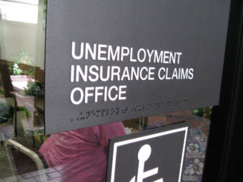 Sign outside an unemployment office.