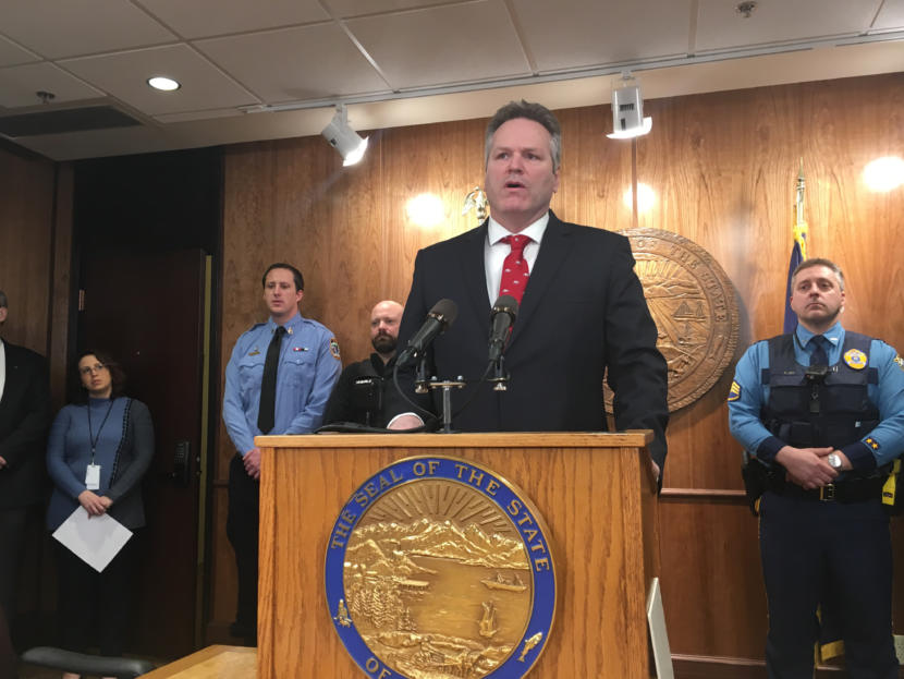 Gov. Mike Dunleavy speaks about his proposals to revise the state's criminal justice laws, Jan. 23, 2019. Photo by Andrew Kitchenman/KTOO and Alaska Public Media