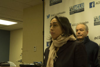 Former Assistant Attorney General Libby Bakalar speaking at a press conference on Jan. 10, 2019. Bakalar is one of three plaintiffs in a lawsuit filed by the ACLU of Alaska against the Dunleavy administration, claiming that she was illegally terminated by the governor. (Photo by Wesley Early, Alaska Public Media)