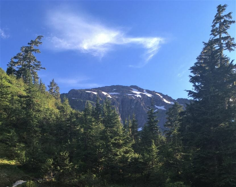 Mount Jumbo, also known as Mount Bradley, from the trail. (Photo by Adelyn Baxter/KTOO)