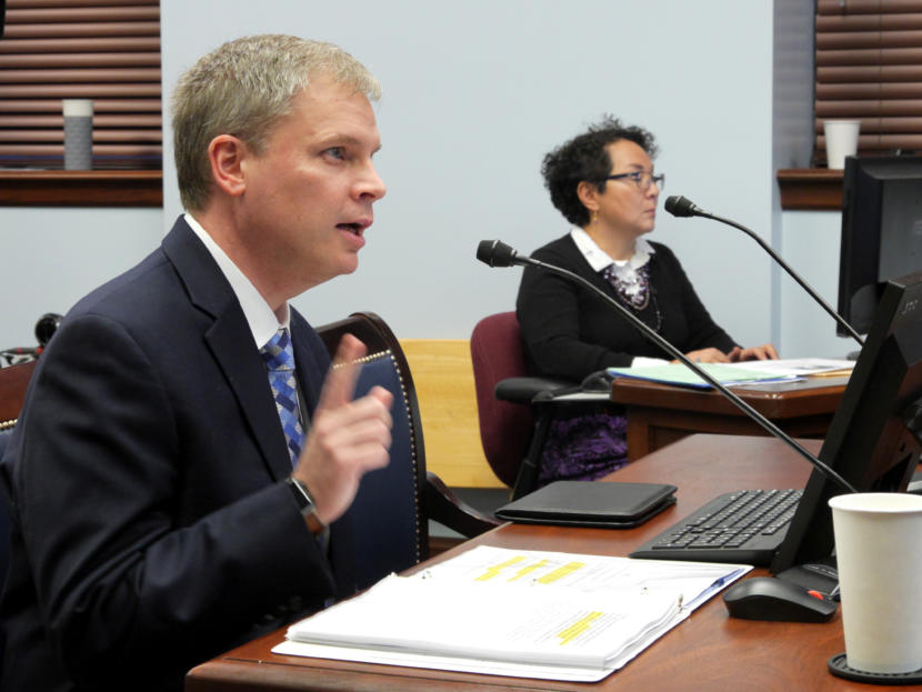 Department of Education and Early Development Commissioner Michael Johnson gives an overview about education in Alaska to the Senate Education Committee in Juneau on Jan. 24, 2019.