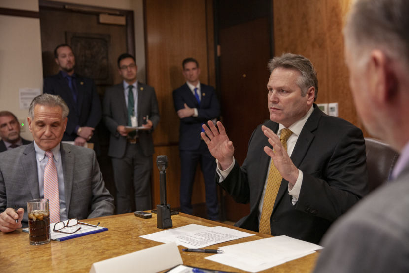 Gov. Mike Dunleavy talks about his goals during a press conference before his third cabinet meeting, on Tuesday, January 8, 2019, in Juneau, Alaska. (Photo by Rashah McChesney/Alaska's Energy Desk)