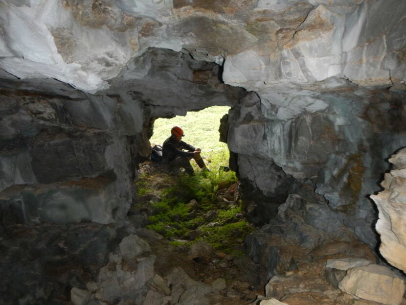 A view from the interior of Trail Creek Cave 2, the site where the ancient Beringian tooth was originally found by Danish archaeologists in 1949.