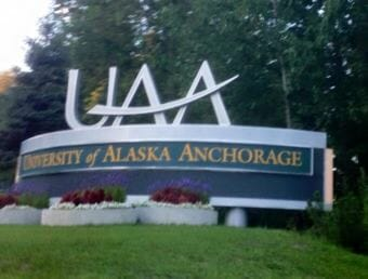 University of Alaska Anchorage entrance sign.