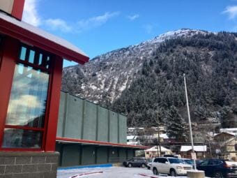 Juneau-Douglas High School: Yadaa.at Kalé sits at the base of the mountain from which it takes its Tlingit name, Jan. 8, 2019. (Photo by Zoe Grueskin/KTOO)