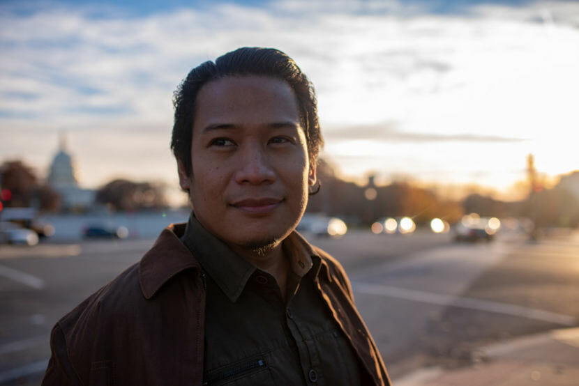 Froilan Grate in Washington, D.C., in December. He was invited to meet with industry representatives about the plastic tsunami in Asia. (Photo by Madeleine Cook/NPR)