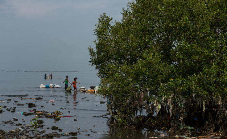 The islands that dot Manila Bay are like doormats for plastic trash that floats in from the ocean. (Photo by Jes Aznar for NPR)