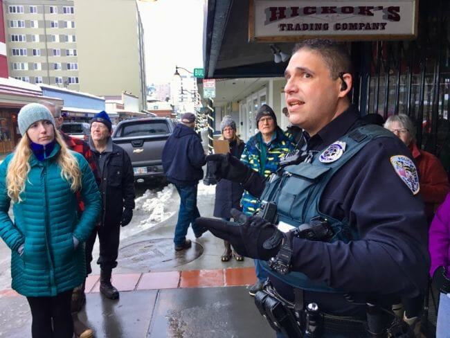 'These people we're afraid of are our neighbors.' Downtown walking tours discuss housing, public safety and Juneau's future.