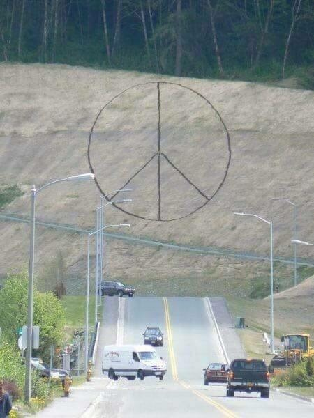 The slope at the end of Commercial Boulevard in Juneau cut and stabilized with jute meshing as part of the construction of the Home Depot in 2008. Surveyor Garrith McLean said that made for a good canvas -- hey laid out this peace sign with topsoil.