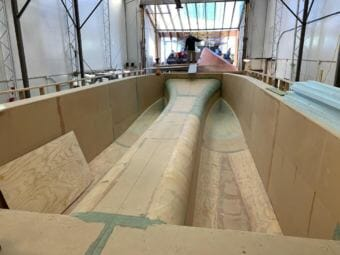 The mold of a 37-foot catamaran sits in Eric Sloth's boat shop in Homer.
