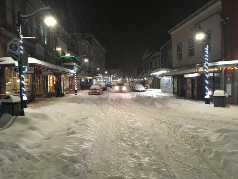 Snow clogs the streets of downtown Juneau during a snowstorm on Jan. 10, 2019.