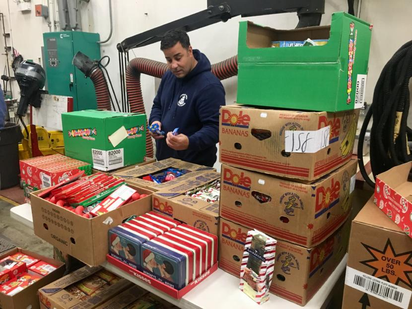 The pantry is focusing on household supplies, but food has also been donated, including leftover Christmas candy from Fred Meyers on Jan. 22, 2019. (Photo by Zoe Grueskin/KTOO)