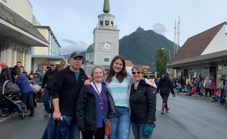 """Amra Kojic with her host family. Kojic says she was nervous about meeting them, but as soon as she met them at the airport she says """"we just had so much to talk about."""" (Photo used with permission)"""