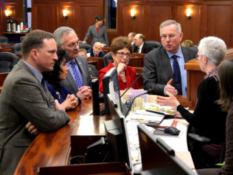 On Feb. 4, 2019, one day before tying the record for longest time without electing a speaker of the House, members from both caucuses consult with Chief Clerk Crys Jones about the body's rules. Rep. David Eastman, R-Wasilla, nominated both Reps. Bryce Edgmon and Dave Talerico as speaker. The nominations were eventually ruled out of order, member can only nominate one person at a time. Lawmakers pictured from left to right: Reps. Ben Carpenter, R-Nikiski; Cathy Tilton, R-Wasilla; Dave Talerico, R-Healy; Gabrielle LeDoux, R-Anchorage; Bryce Edgmon, D-Dillingham.