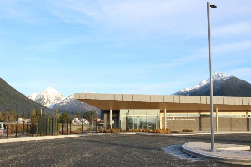 The parking lot outside the Mt. Edgecumbe High School Aquatics Center in Sitka.