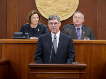 Alaska Supreme Court Chief Justice Joel Bolger delivers the annual State of the Judiciary Address to the Alaska Legislature in Juneau on Feb. 20, 2019.