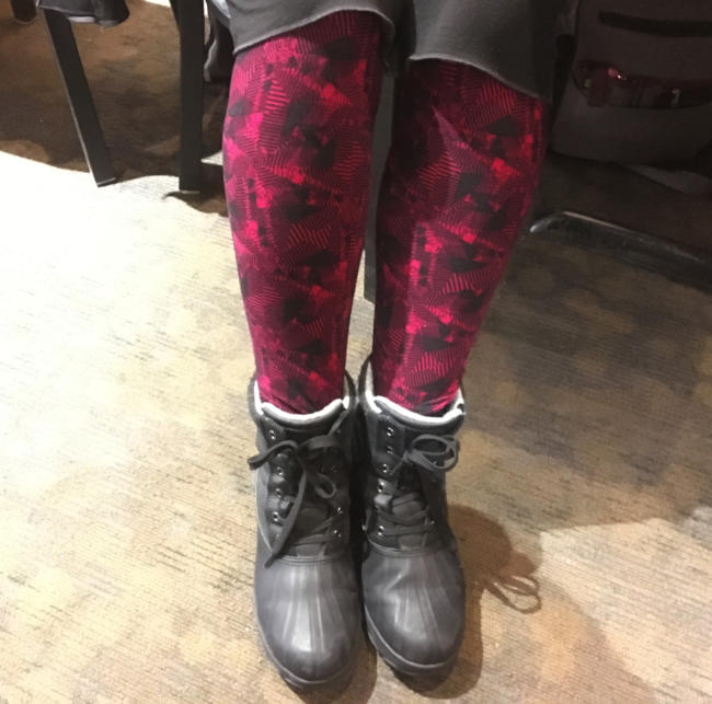 Karena Perry models a pair of leggings she purchased from a LuLaRoe representative.