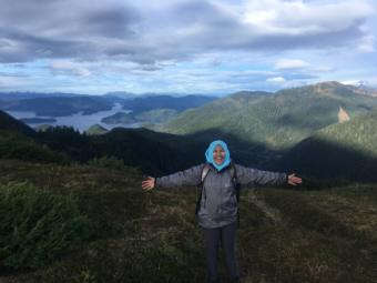 Nisreen Jehka on a hike in Sitka. She says she doesn't hike at home in Thailand, because of snakes, but she loves hiking in Alaska. (Photo used with permission)