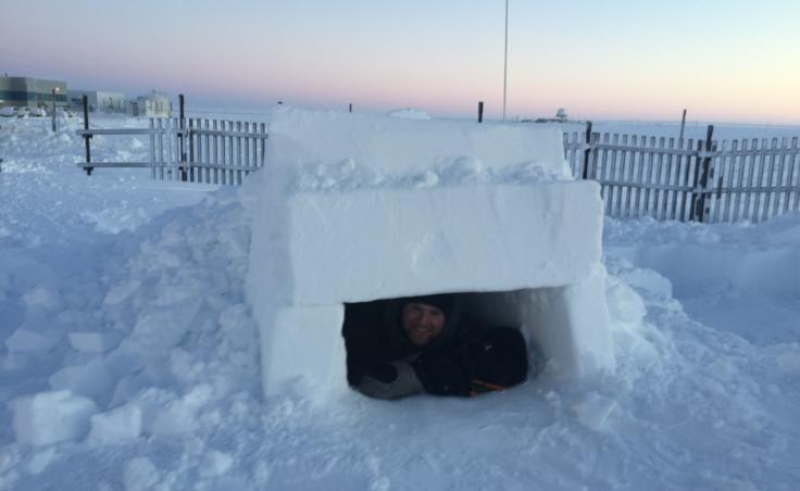 """The """"fighter trench,"""" shown here, is one of the easier shelters that students learn how to build in the course."""