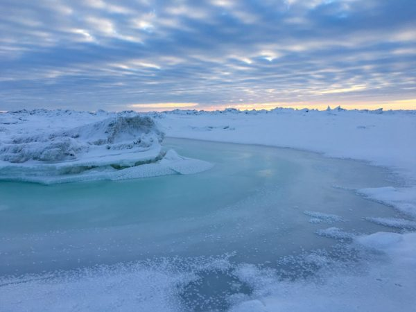 Sea ice near Nome on Jan. 29, 2018. (Photo by Zoe Grueskin/KNOM)