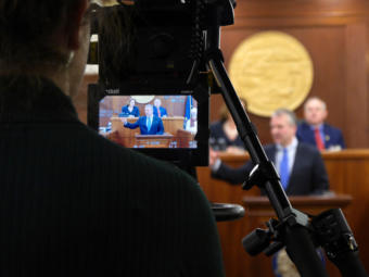 A Gavel Alaska camera operator shoots U.S. Sen. Dan Sullivan, R- Alaska, delivering his annual address to the Alaska Legislature in Juneau on Feb. 21, 2019. Gavel Alaska coverage of the event was broadcast live on television and on the web by 360 North.