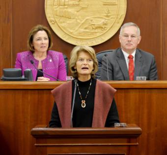 U.S. Sen. Lisa Murkowski, R-Alaska, gives her annual address to the Alaska Legislature, Feb. 19, 2019.