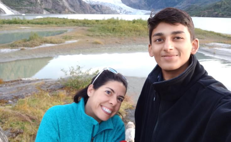 Zain Mufti (right) with his Juneau host mom, Julie York Coppens. Mufti was pleased to be placed with a host family that shares his interest in theater. (Photo used with permission)