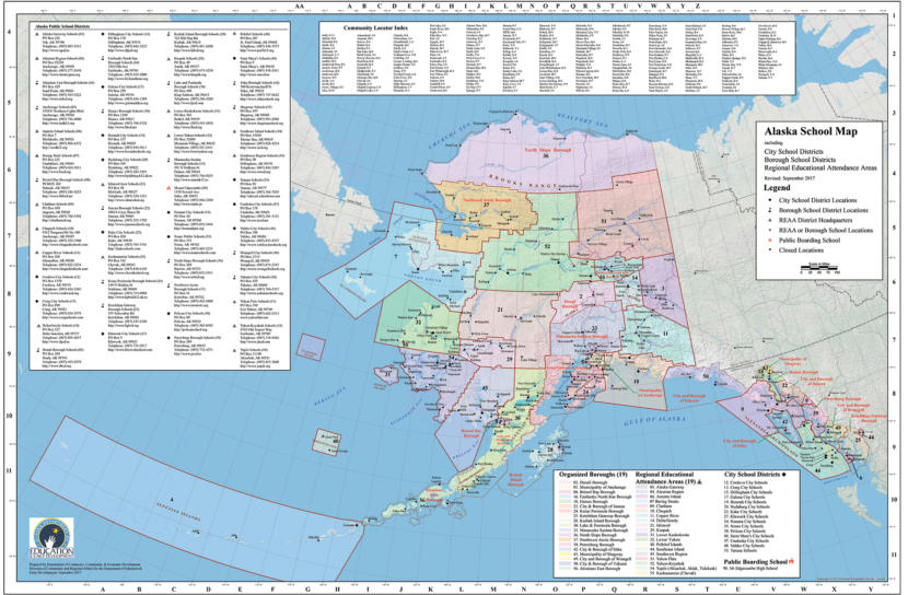 A map showing the boundaries between every school district in Alaska.