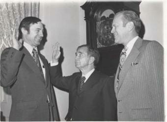 Rep. Don Young, R-Alaska, at his swearing-in ceremony, March 14, 1973. Speaker of the House Carl Albert, D-Okla., administers the oath, with House Minority Leader Gerald Ford, R-Mich.
