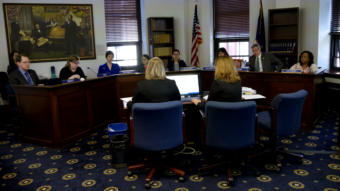 Department of Health and Social Services Deputy Commissioner Donna Steward, left, and Admin Services Director Sana Efird give an overview of Gov. Mike Dunleavy's proposed changes to Medicaid to the House Health and Social Services Committee on March 19, 2019.