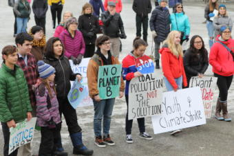 Students in Anchorage rally in solidarity with the global climate strike.
