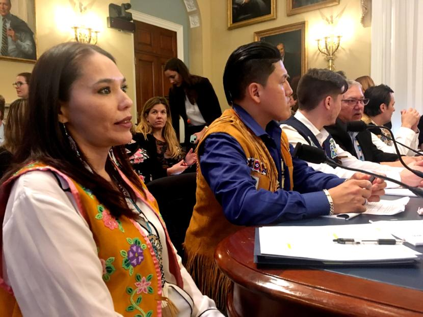 Bernadette Demientieff, director of the Gwich'in Steering Committee, waits to testify at a U.S. House hearing on the Arctic National Wildlife Refuge.
