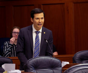 Rep. Neal Foster, D-Nome, co-chair of the House Finance Committee, speaks in support of Senate Bill 38 during a House floor session in Juneau on March 29, 2019. The bill would appropriate money for various disaster relief programs related to the earthquake that struck the Anchorage area on Nov. 30, 2019.
