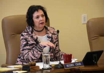 Sen. Shelley Hughes, R-Palmer, chairs the Senate Judiciary Committee in Juneau on March 22, 2019.