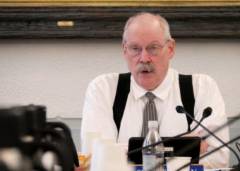 Sen. Bert Stedman, R-Sitka, co-chairs a Legislative Budget and Audit Committee meeting in Juneau on Jan 14, 2019.
