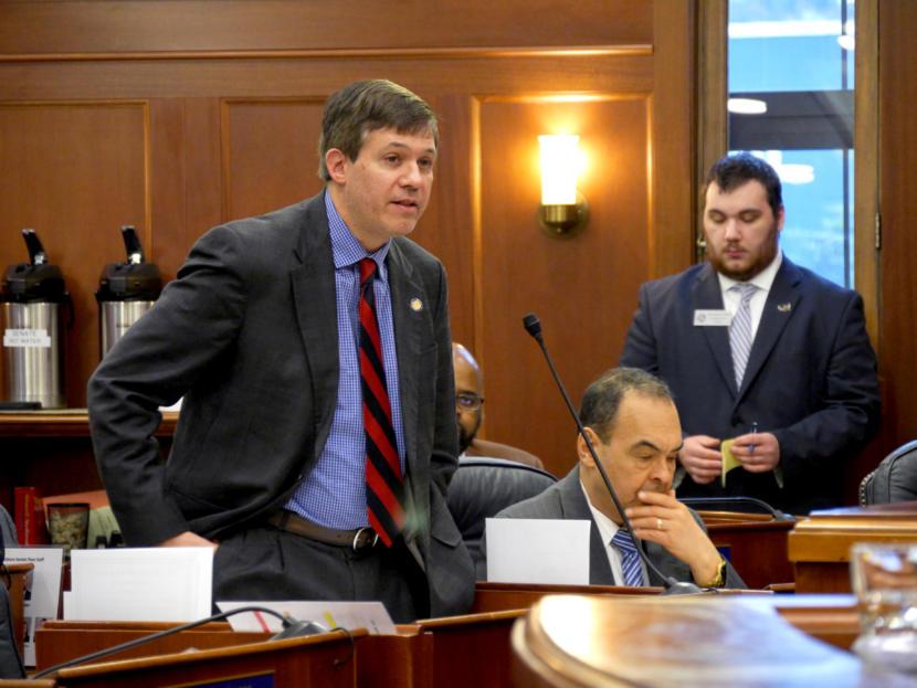 Sen. Bill Wielechowski, D-Anchorage, speaks during a Senate floor session, March 13, 2019.