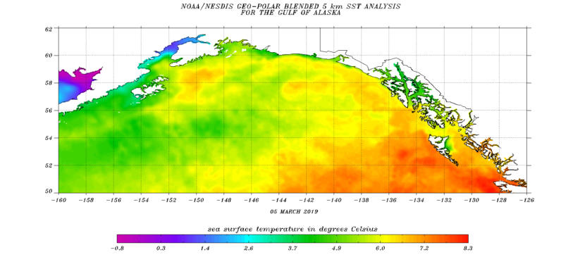 Sea Surface temperature map from the National Oceanic and Atmospheric Administration.
