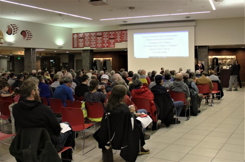 About 200 Juneau residents turned out for a budget townhall hosted by the Juneau legislative delegation on Monday, March 13, 2019. (Photo by Adelyn Baxter/KTOO)