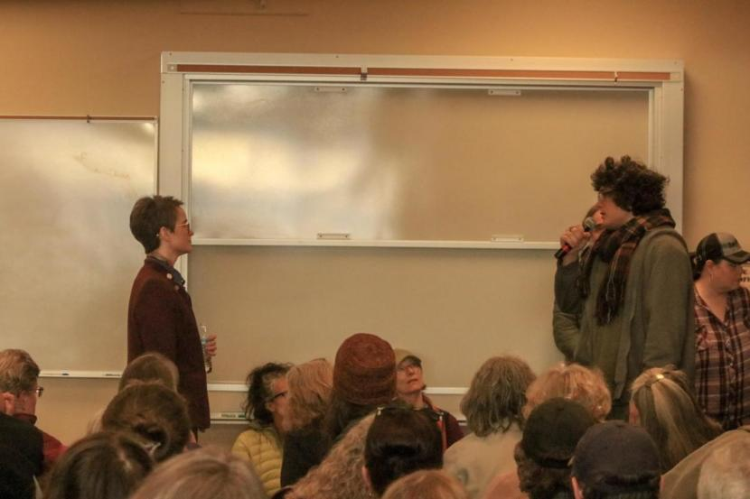 Homer High School senior Jesse Roach asks Rep. Sarah Vance to oppose cuts to education at a recent town hall.
