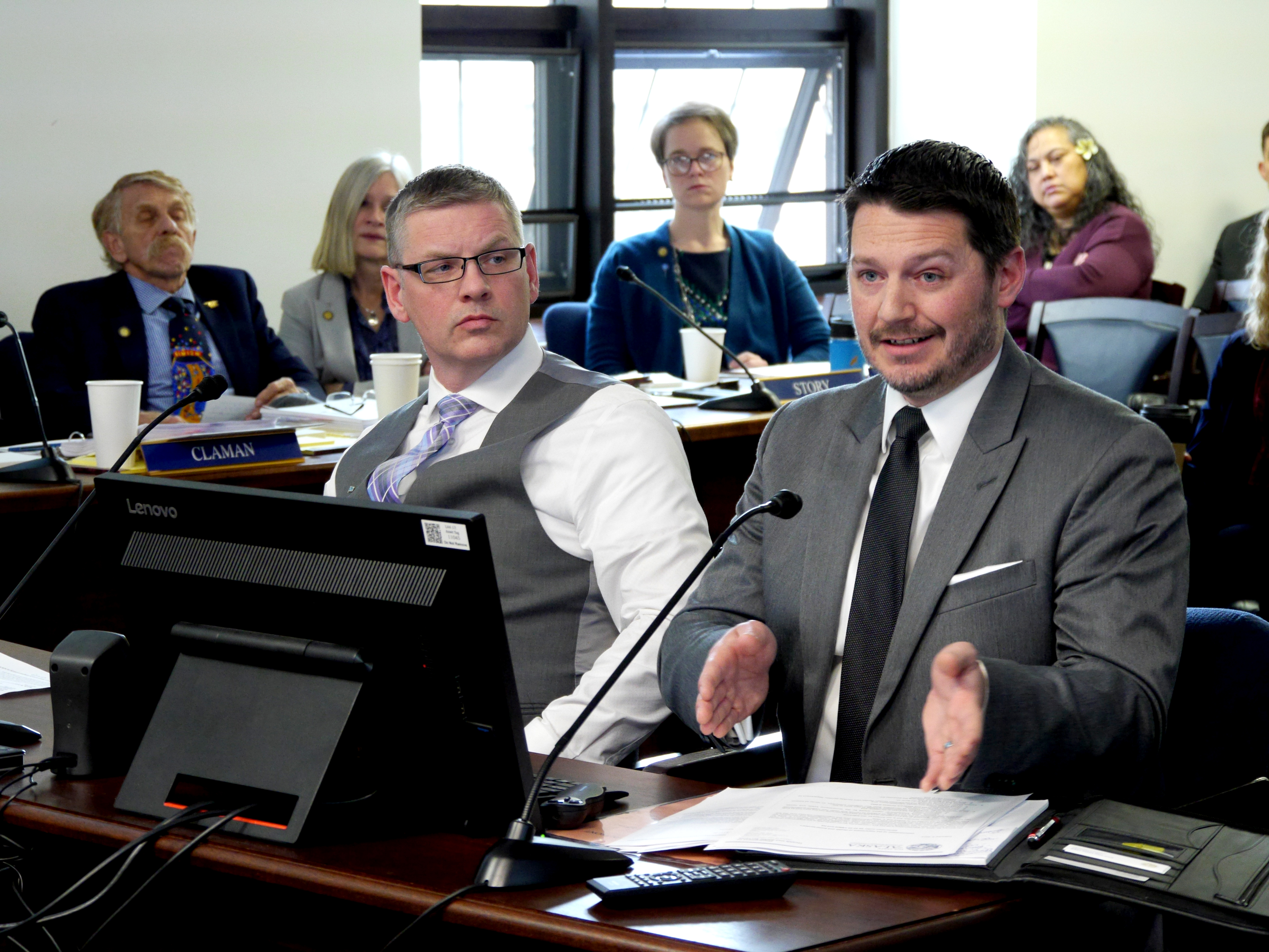 Department of Health and Social Services Deputy Commissioner Albert Wall, left, and Department of Administration Chief Procurement Officer Jason Soza field questions from members of the Health and Social Services and State Affairs committees in Juneau on April 2, 2019. The committees were examining procurement procedures that led to a controversial contract to manage the Alaska Psychiatric Institute.