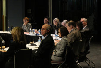 The University of Alaska's Board of Regents, as well as officials from UAA, listen to public testimony from students affected by UAA's loss of accreditation for its education department.