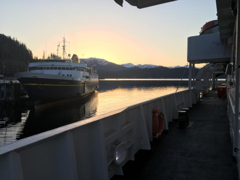 The MV Malaspina sits at the dock in Auke Bay, near Juneau, as the MV LeConte pulls away from the dock early March 28, 2019. Both ships are part of the Alaska Marine Highway System.