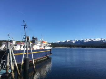 The MV LeConte sits at the dock in Angoon on March 28, 2019.