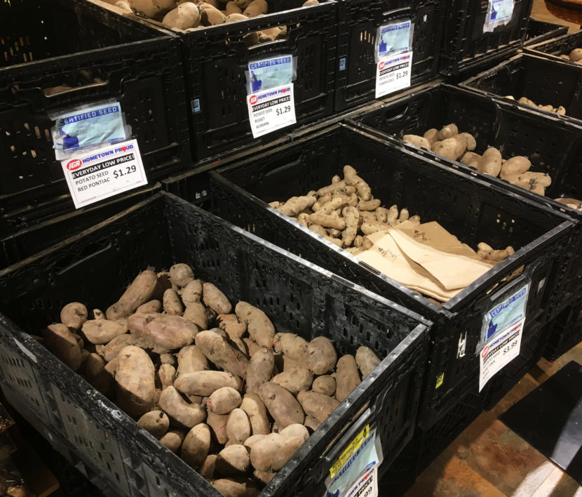 Certified seed potatoes on sale at a Juneau grocery store in April 2019.