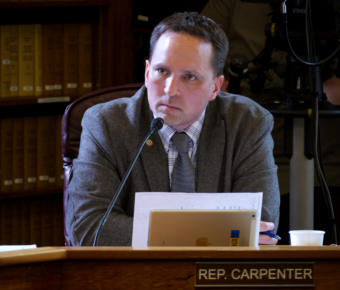 Rep. Ben Carpenter, R-Nikiski, pauses while voicing his opinion about an amendment to the state operating budget during House Finance Committee deliberations in Juneau on April 3, 2019.