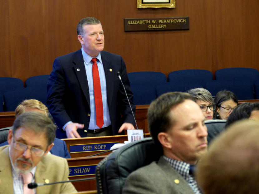 Rep. Chuck Kopp, R-Anchorage, speaks during a House floor session in Juneau on April 11, 2019.