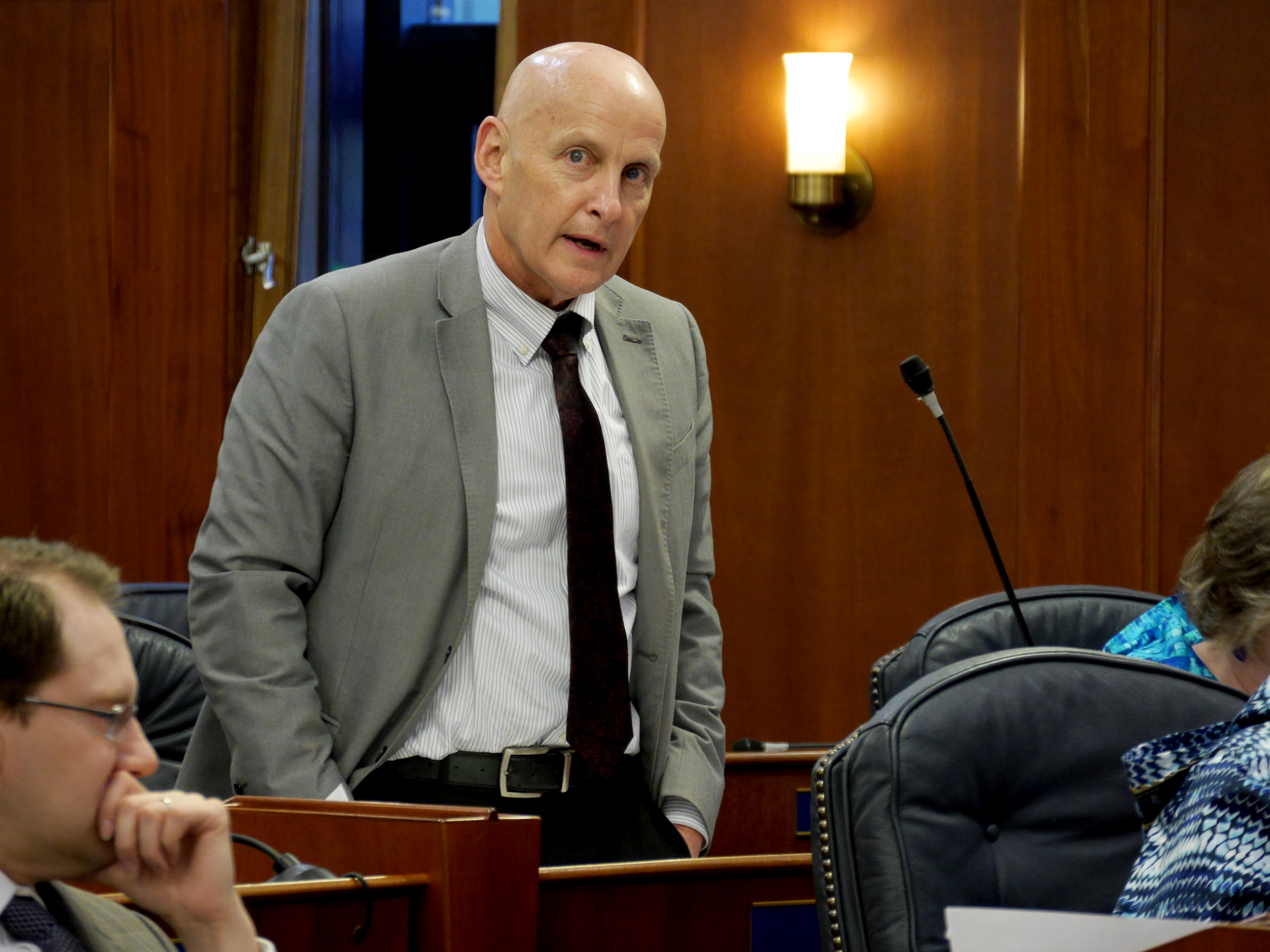Rep. Dan Ortiz, I-Ketchikan, speaks during a House floor session in Juneau on March 29, 2019.